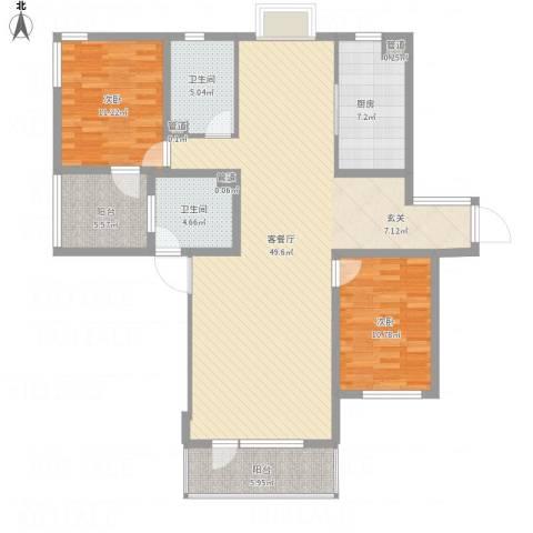 水云花园・南开区2室1厅2卫1厨142.00㎡户型图