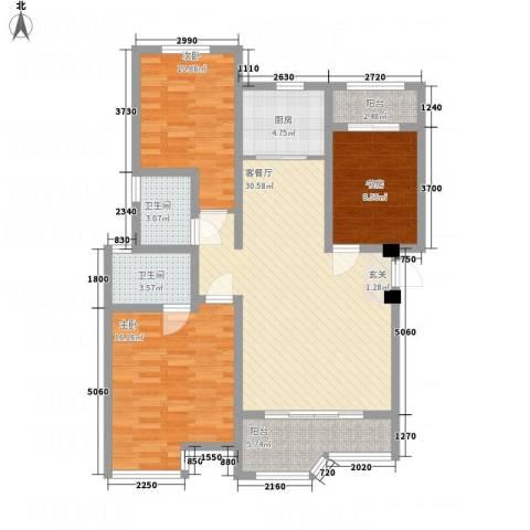 天玺国际3室1厅2卫1厨125.00㎡户型图