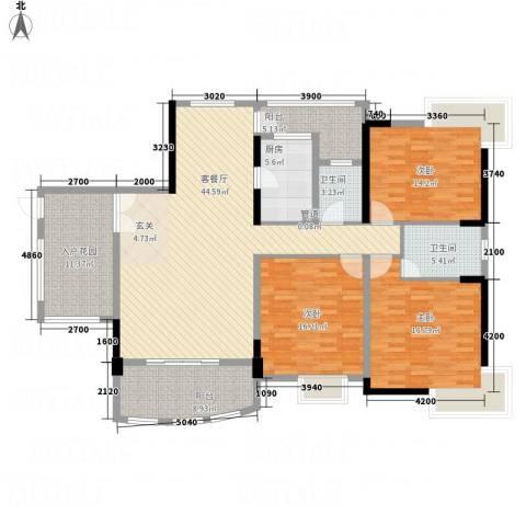 枫林水岸豪庭3室1厅2卫1厨161.00㎡户型图