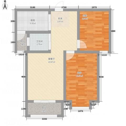 北城山水2室1厅1卫1厨89.00㎡户型图