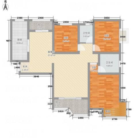 天玺国际3室1厅2卫1厨139.00㎡户型图
