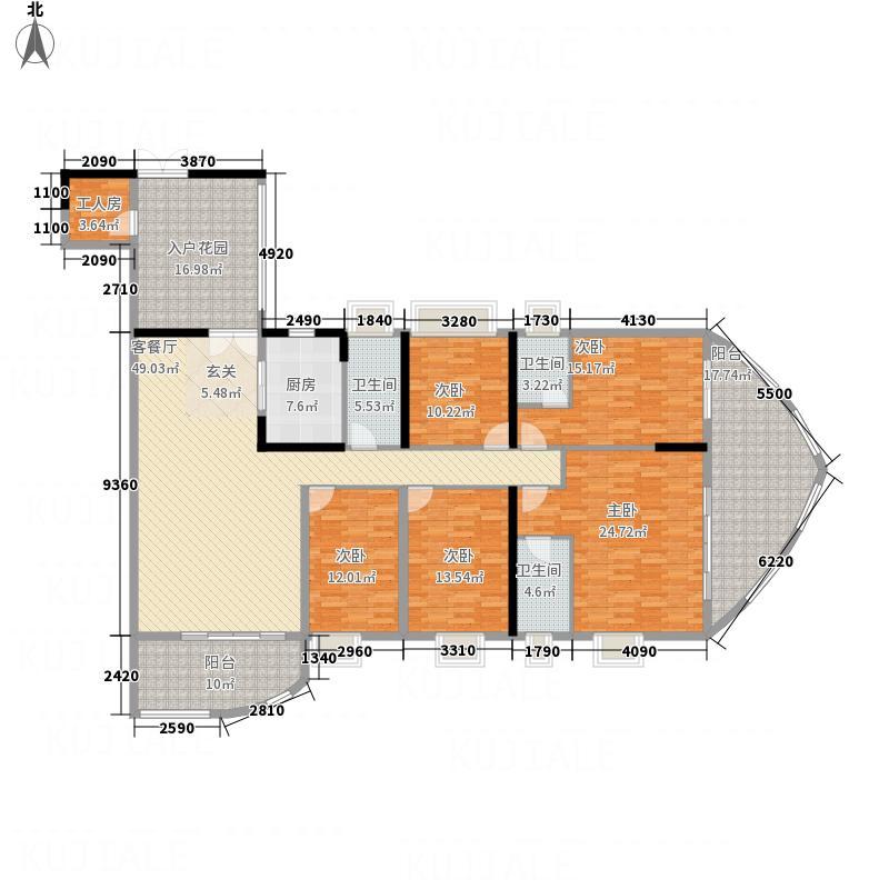 银地绿洲234.00㎡1栋紫荆座01户型6室2厅3卫1厨