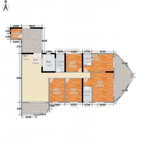 银地绿洲5室1厅3卫1厨234.00㎡户型图