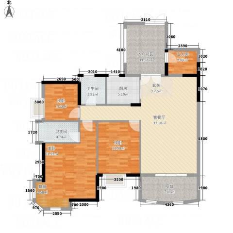 银地绿洲3室1厅2卫1厨137.00㎡户型图