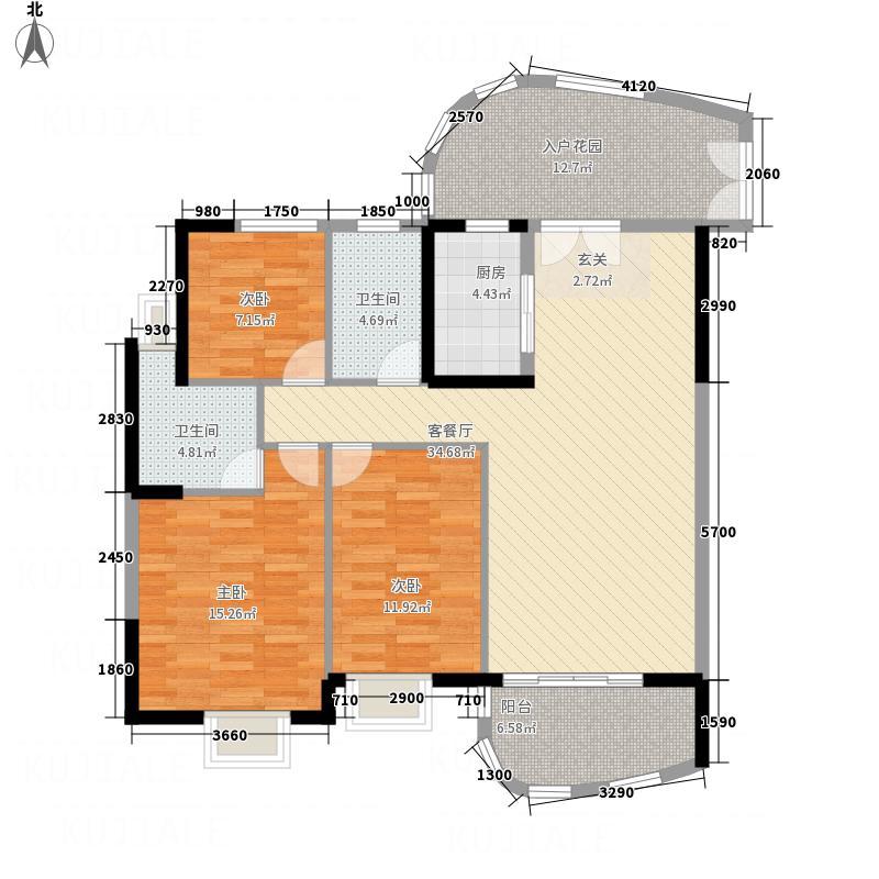 银地绿洲125.00㎡1栋紫荆座03户型3室2厅2卫1厨