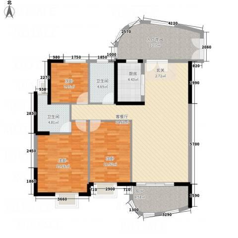 银地绿洲3室1厅2卫1厨125.00㎡户型图