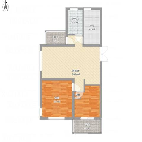 国信上城・学府2室1厅1卫1厨88.00㎡户型图