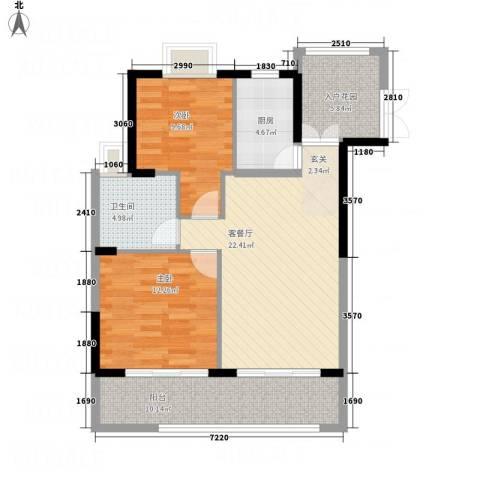 银地绿洲2室1厅1卫1厨86.00㎡户型图