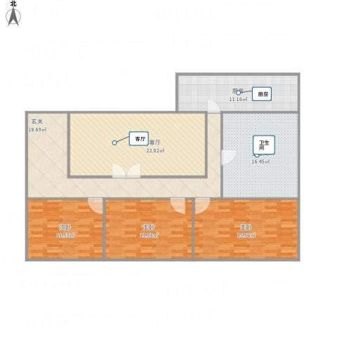 天源山庄3室1厅1卫1厨147.00㎡户型图