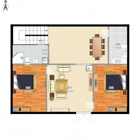金碧华庭2室2厅1卫1厨105.18㎡户型图