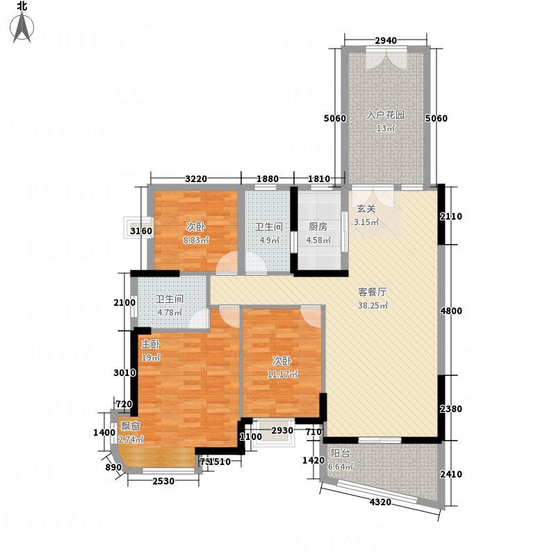 银地绿洲134.00㎡4栋水仙座03户型3室2厅2卫1厨