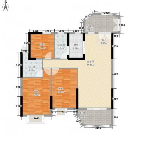 银地绿洲3室1厅2卫1厨122.00㎡户型图