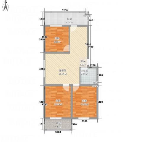 上善水苑3室1厅1卫1厨79.85㎡户型图