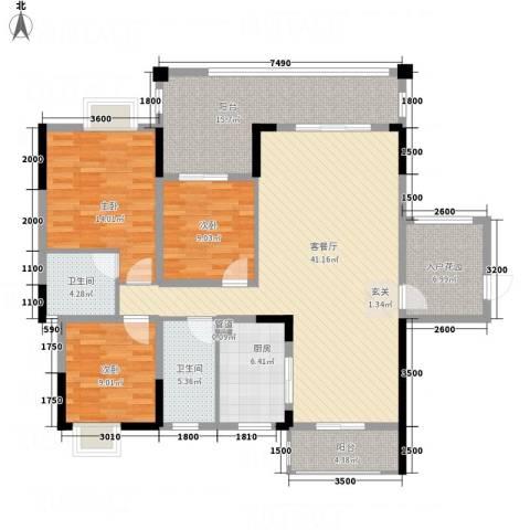 翁江新城3室1厅2卫1厨137.00㎡户型图