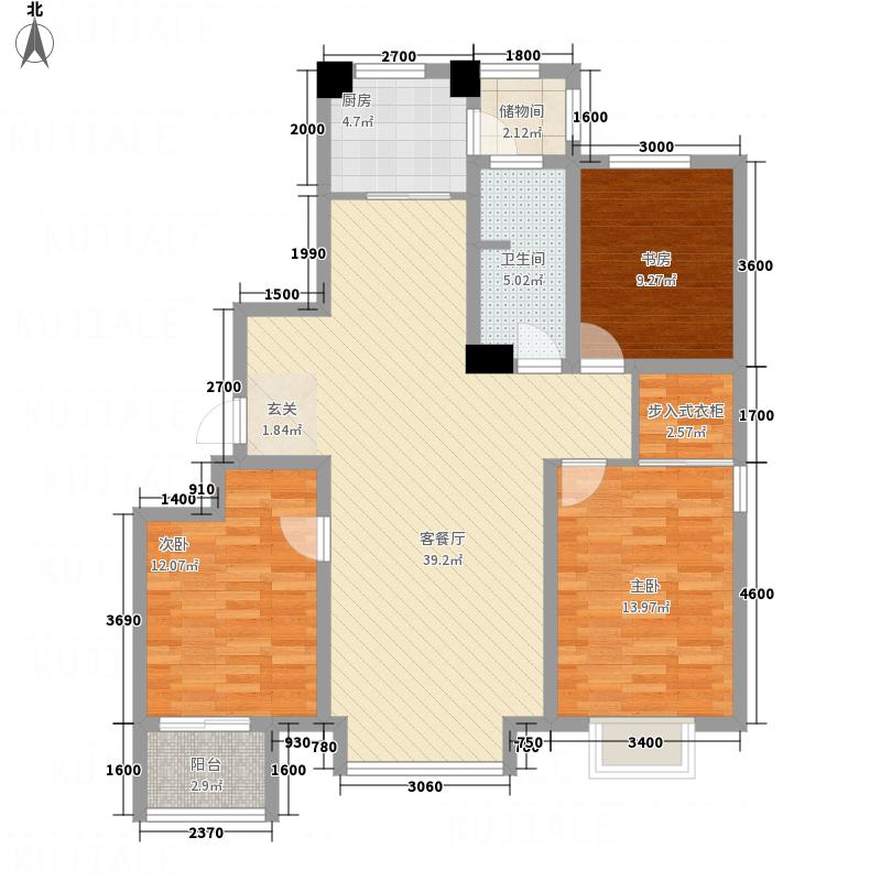 馨悦小区13.00㎡C2户型3室2厅1卫1厨