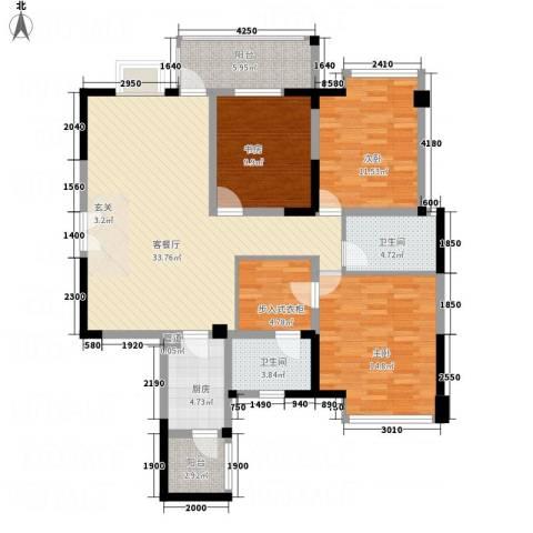 凯丽景湖三期3室1厅2卫1厨2134.00㎡户型图