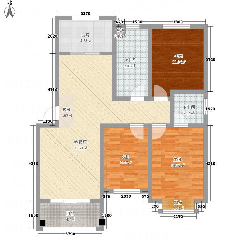 利津华府124.50㎡2户型3室2厅2卫1厨