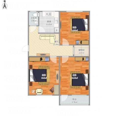无影山新村3室1厅1卫1厨101.00㎡户型图