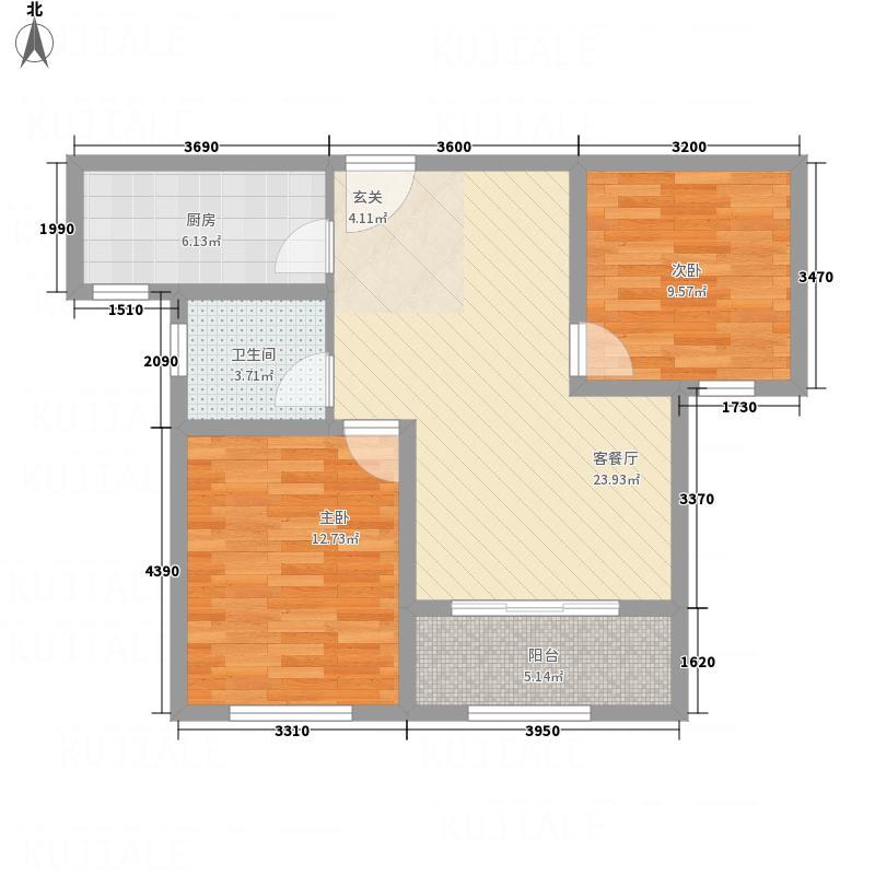 中心国际222183.42㎡a户型2室2厅1卫1厨