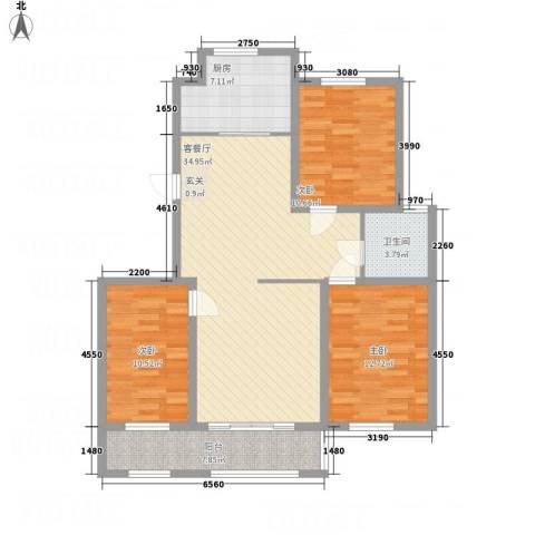 巴塞小镇3室1厅1卫1厨125.00㎡户型图