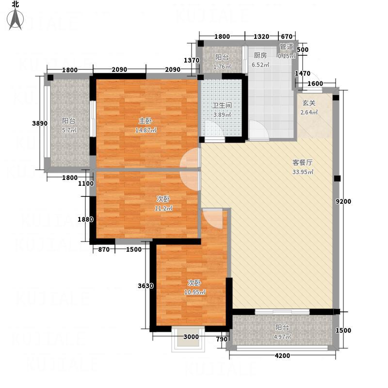 海上花园3321118.25㎡A户型3室2厅1卫1厨