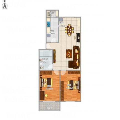 三和温泉花园天时园2室1厅1卫1厨113.00㎡户型图