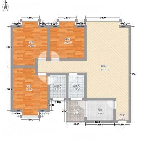 福泽源3室1厅2卫1厨130.00㎡户型图