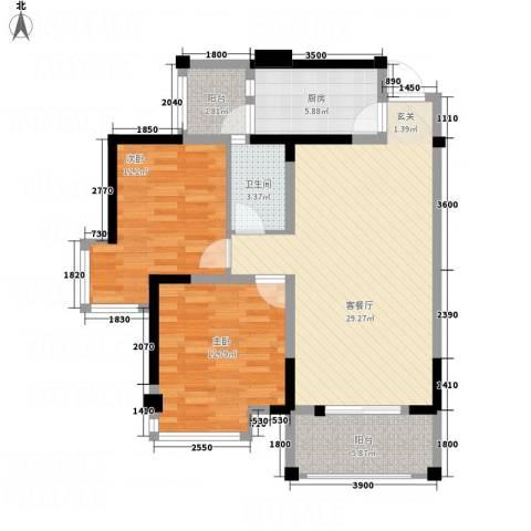 凯丽景湖三期2室1厅1卫1厨72.19㎡户型图