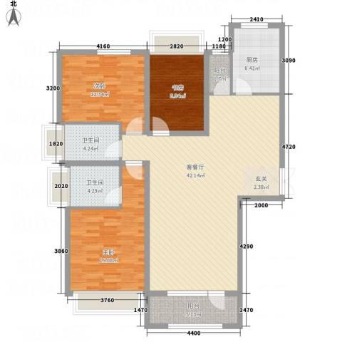 保利・香槟花园3室1厅2卫1厨142.00㎡户型图
