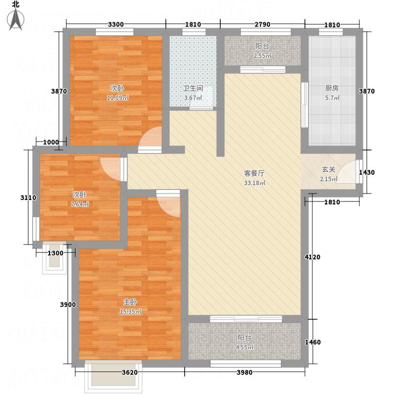 中心国际1321113.75㎡b户型3室2厅1卫1厨