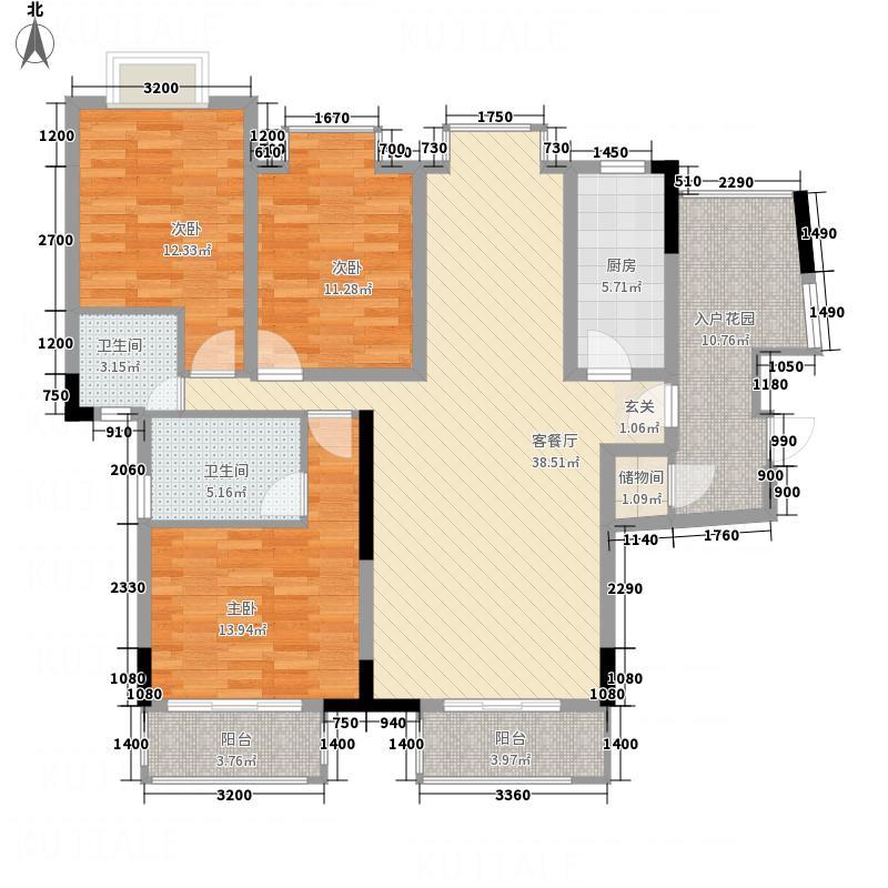 博泰・水韵天颐6138.32㎡A6栋C-1户型3室2厅2卫1厨
