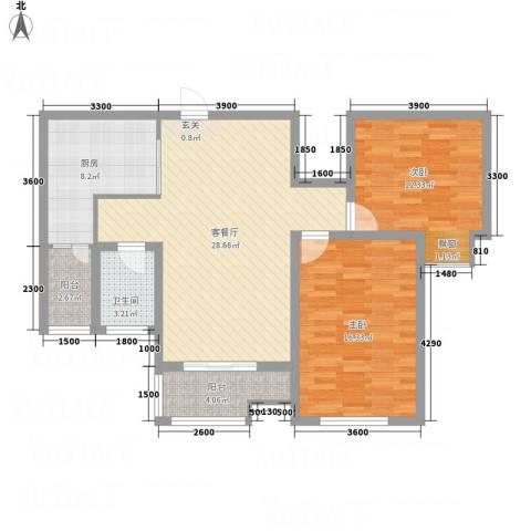 豪润・新都2室1厅1卫1厨75.47㎡户型图
