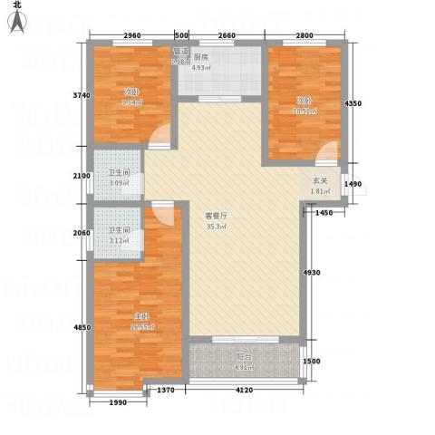 盛世郡3室1厅2卫1厨127.00㎡户型图