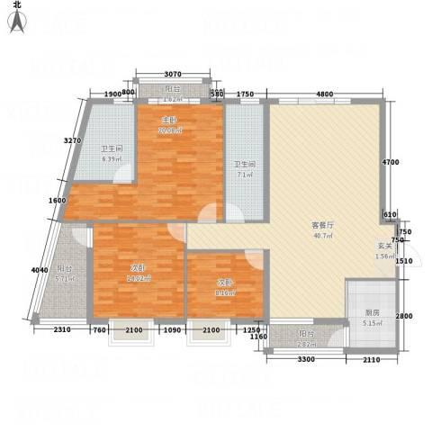 蟠龙山水豪庭3室1厅2卫1厨156.00㎡户型图