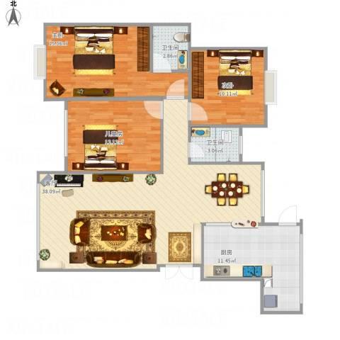 龙腾盛世3室1厅2卫1厨125.00㎡户型图