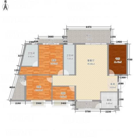 蟠龙山水豪庭4室1厅2卫1厨197.00㎡户型图