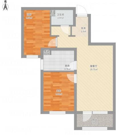 大运河孔雀城温莎郡2室1厅1卫1厨82.00㎡户型图