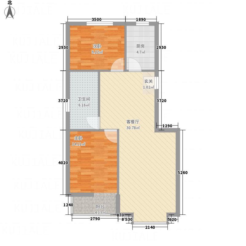 浩庭花园户型2室2厅1卫