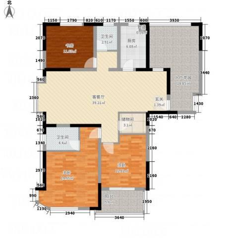 青松公寓3室1厅2卫1厨176.00㎡户型图