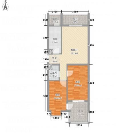 永康城市花园2室1厅1卫1厨67.61㎡户型图
