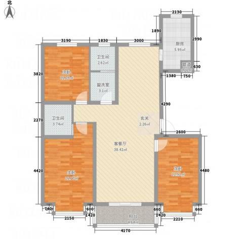 盛世郡3室2厅2卫1厨98.63㎡户型图