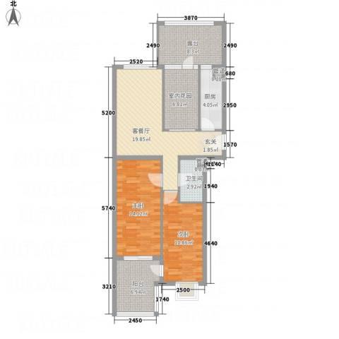 永康城市花园2室1厅1卫1厨74.11㎡户型图