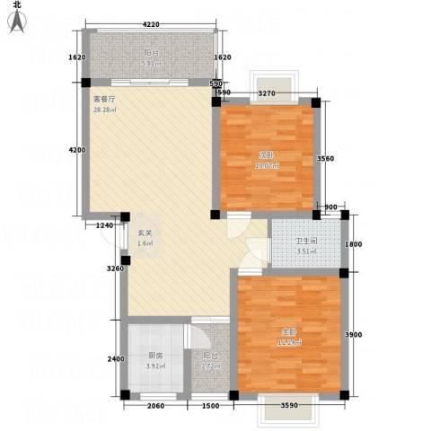 桂丰御景2室1厅1卫1厨81.00㎡户型图