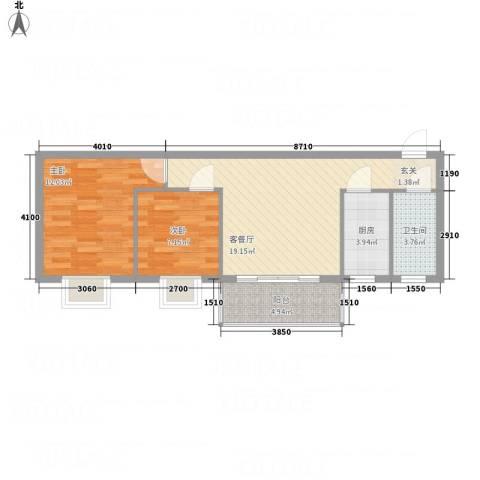 腾庆卡达凯斯山水城2室1厅1卫1厨74.00㎡户型图