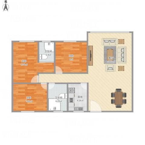 园林花园3室1厅2卫1厨93.00㎡户型图