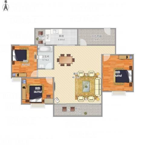 康格斯花园3室1厅1卫1厨142.00㎡户型图