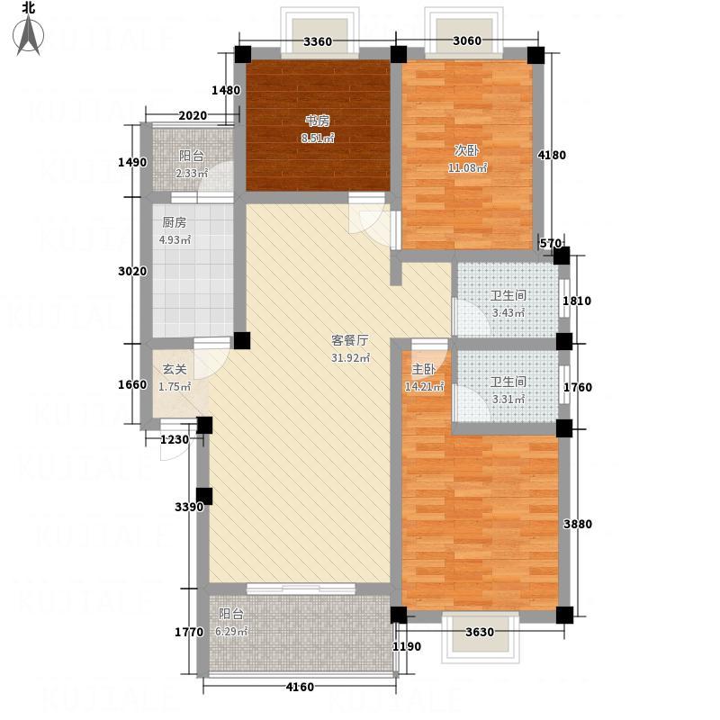 桂丰御景15.30㎡户型3室2厅2卫