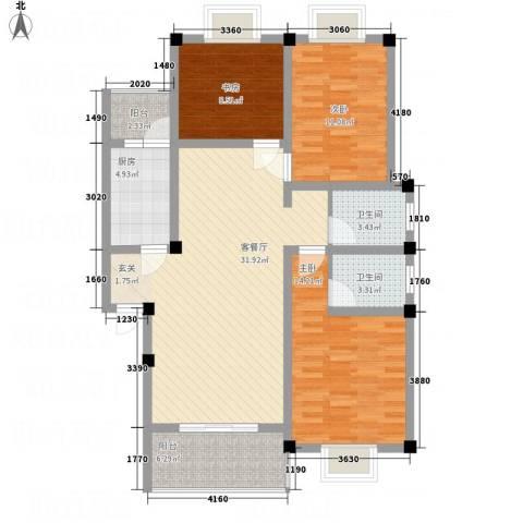 桂丰御景3室1厅2卫1厨86.02㎡户型图