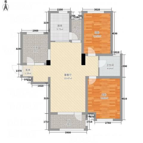 名家汇2室1厅1卫1厨123.00㎡户型图