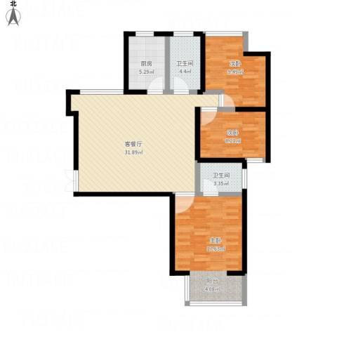 华府御城3室1厅2卫1厨115.00㎡户型图
